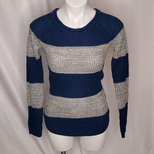 Revamped waffle knit sweater blue gray sz xs
